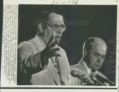 1974 Press Photo Cooper Rollo and Luke Carroll announce All-Stars Game cancelled