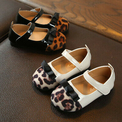 Toddler Children Kids Baby Girl Leopard Bowknot Single Princess Shoes Sandals UK