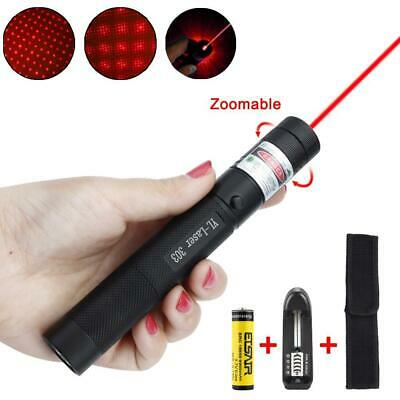 Military Powerful Red Laser Pointer Pen Torch 303 532nm Burning Lazer+18650 GA