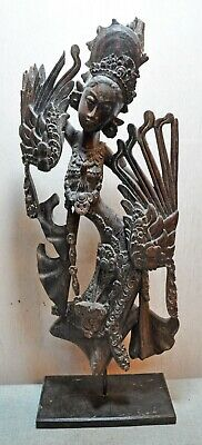 Original Old Antique Fine Hand Carved Wooden Tribal Lady Figurine on Stand