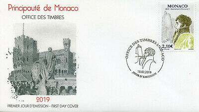 Monaco 2019 FDC Accession Honore V Bicentenary 1v Cover Royalty People Stamps