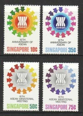 Singapore 1982 15Th Anniv. Of Asean (Flags) Comp. Set 4 Stamps Sc#390-393 Mint