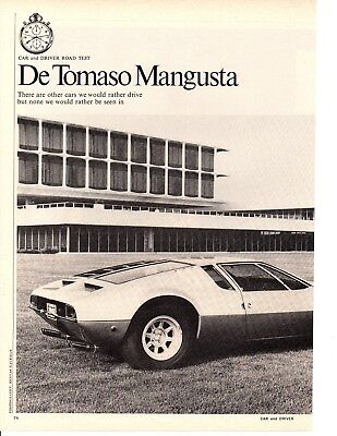 1970 De Tomaso Mangusta 302/230 Hp ~ Original 5-Page Road Test / Article / Ad