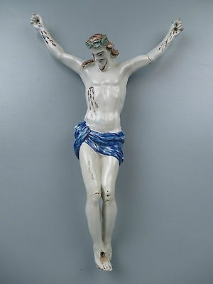 Large 18C 19C German or French Faience Pottery CHRIST FIGURE - Crucifix Jesus PT
