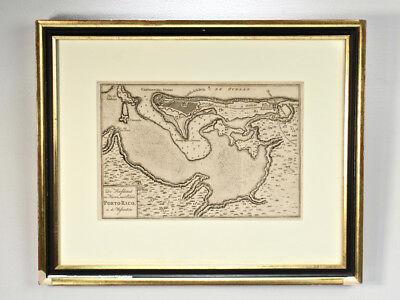 Antique 18th Century Map of Puerto Rico by Isaak Tirion - San Juan Porto - 2D