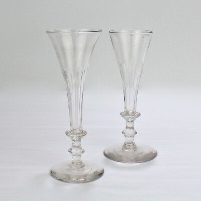 Pair Antique Early 19th Cent. Regency Period Faceted Glass Champagne Flutes - GL