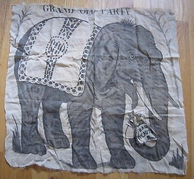 Antique 1890 Grand Old Party Republican Pin Peanuts on Elephant Cloth Game