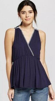 4f8a81834 Universal Thread Women's Contrast Stitch Sleeveless Blouse NEW Navy Large  Target