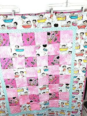 "Betty Boop Lap Quilt Blanket Bathtub and Beauty Shop Theme Made by ""Grandma"""