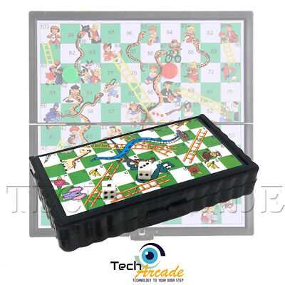 Snakes and Ladders Mini Magnetic Plastic Travel Board Games Kids Portable Pocket