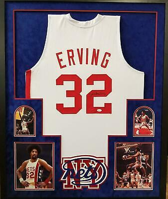 c5578eb97 Dr. J Julius Erving NY NJ Nets 76ers Autograph Signed Custom Framed Jersey  White