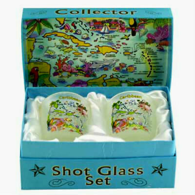 Caribbean Map Boxed Shot Glass Set (Set Of 2)