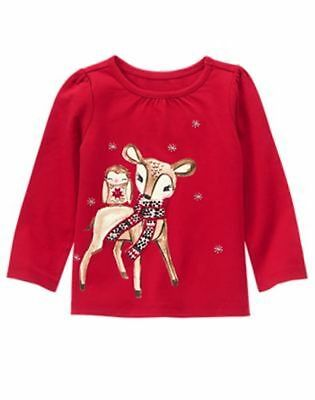 NEW Gymboree Baby Deer /& Owl Burgundy Red Top NWT 2T 4T Holiday Girls