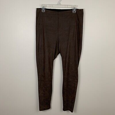 130156ce83a72b Lysse Womens Size Large Brown High Rise Buffed Faux Suede Leggings Pull On  Pants
