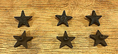 "Six Small Stars 1 3/4"" Cast Iron Rust Drawer Cabinet Pulls Handles 0170-10310"