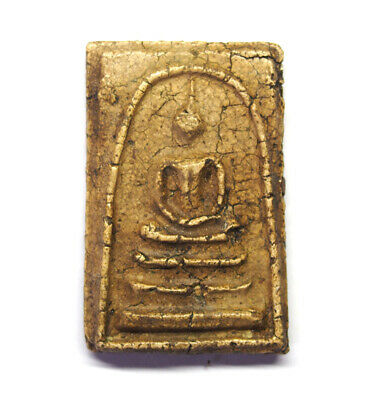 Old Thai Buddha Amulet Magic Powder Phra Somdej Lp Tho Pendant T0-0109