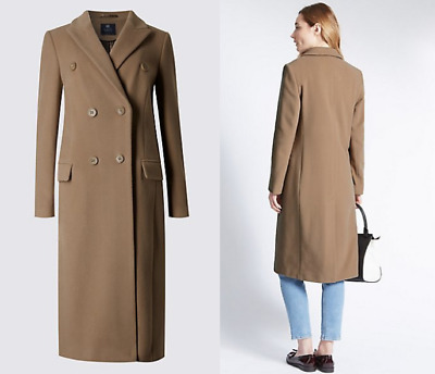Women Wool Cashmere Blend Overcoat Maxi Single-Breasted Trench Coat Outwear T414