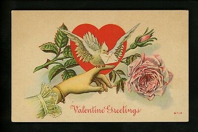 Hands Related postcard Valentines Greeting flowers woman dove heart rose