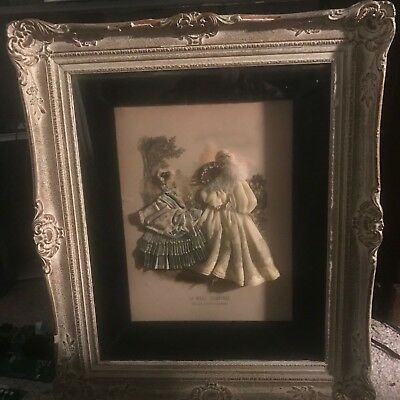 Large Antique French Fashion LA MODE Illustree Embellished  3-D Shadow Box