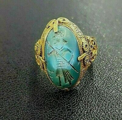 Antique Persian Turquoise Roman Trojan & Spear Intaglio Seal Solid 18K Gold Ring