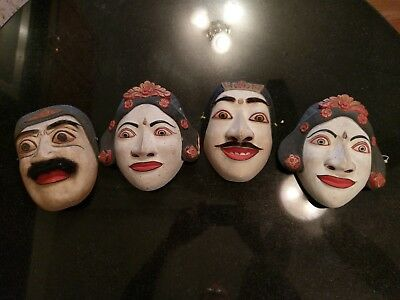 Antique Asian Hand Carved And Painted Wood Masks