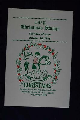1978 Christmas Rocking Horse 15c Stamp FD Ceremony Program Sc#1769 CP0186