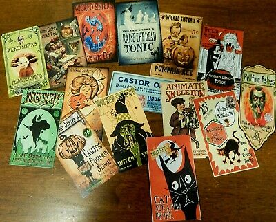 15 Halloween Vintage prim Witch Apothecary potion bottle Label stickers Series 1