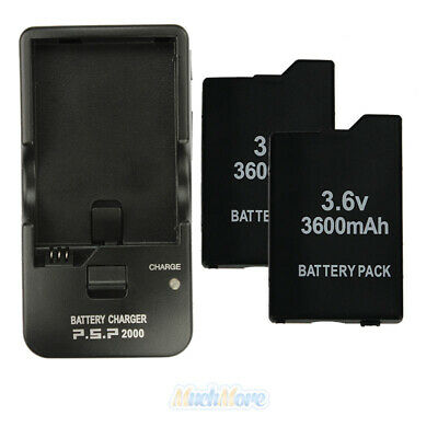 3.6V 3600mAh 2Pcs Battery Pack + Wall Charger for Sony PSP 2000 2001 Slim US