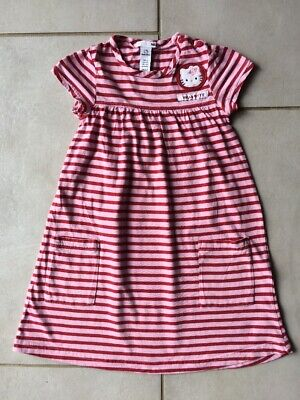2711fbcb714 H M HELLO KITTY - Robe fille 5 ans rayée rose   rouge - TBE - 7 ...