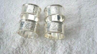 Art Deco Set of Four Silver Plated Napkin Rings