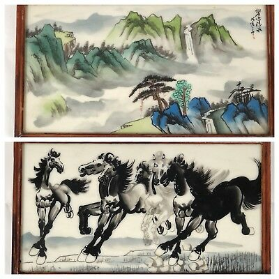Chinese Painted Tile Double Sided Galloping Horses & Mountain Landscape Signed