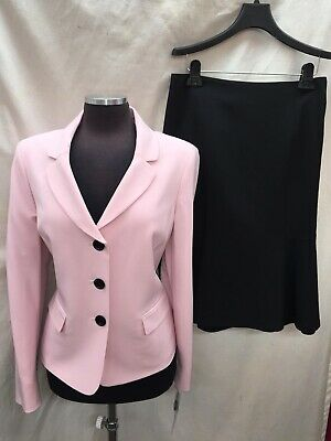 LESUIT SKIRT SUIT/PINK/BLACK/size 12/NEW WITH TAG/retail$200/LINED/SKIRT 25'/