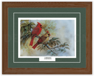 Framed and Matted Picture Art Print 'Cardinals' by Gamini Ratnavira 21x17 NEW