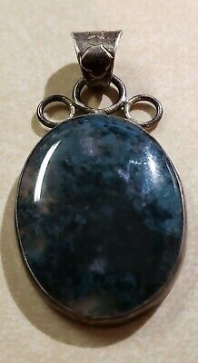 Large Green MOSS AGATE Pendant or Bauble with Sterling Hanger Very Pretty