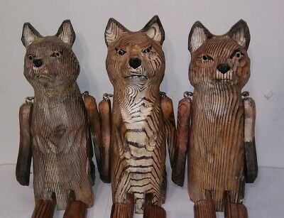 "Victorian Trading Co 1 Poseable Carved Wood Fox Shelf Sitter Figurine 14"" 24E"