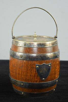 Victorian/Antique English Oak/Silverplate Biscuit Barrel With Porcelain Insert