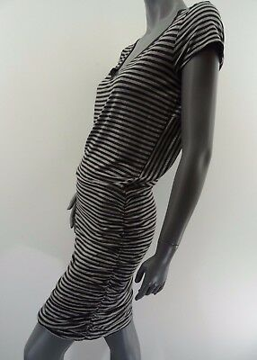 d7339cbc6aa ATHLETA TOPANGA DRESS Size M Gray Striped Short Sleeve Ruched ...