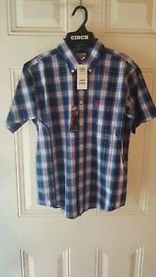 Cinch Boys Brown Light Blue and Red Long Sleeve Button Up Shirt MTW7060159