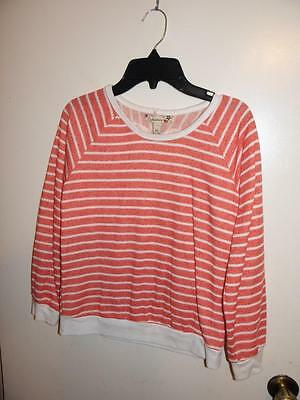 SPEECHLESS Girls Orange White Striped Sweater w/ Cutout Lace Heart Design sz XL