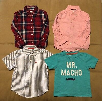 Lot of 4 Carter's Toddler Boys Long/Short Button Down Dress Shirts Size 2T