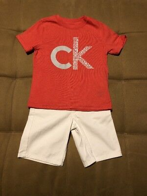 Calvin Klein Jeans 2 Piece Toddler Boys Shirt and Short Set Size 4T NEW