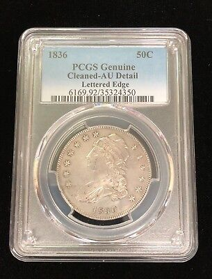 1836 50C Capped Bust Half Dollar PCGS Genuine Cleaned AU Detail Lettered Edge