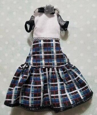 Monster High Doll Clothing Ghouls Alive Frankie Stein Blue & White Plaid Dress