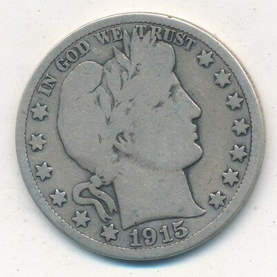1915-S Barber Silver Half Dollar-Nice Circulated Barber Half-Ships Free! Inv:4