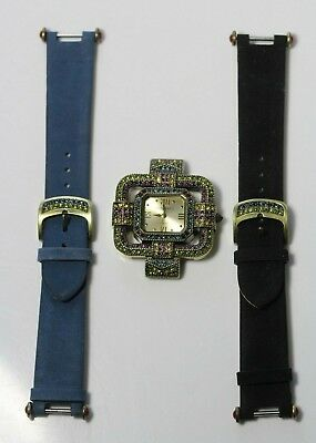 Heidi Daus Art Deco Style Multi Color Swarovski Crystal Watch & 2 Suede Straps