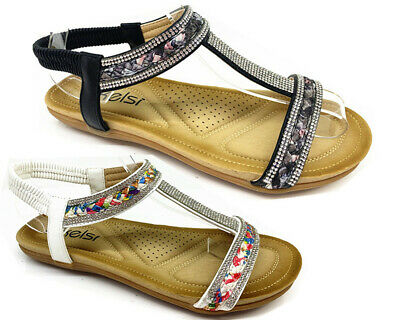 New Ladies Women Party Fashion Summer Holiday Beach Sandals Low Wedge Shoes