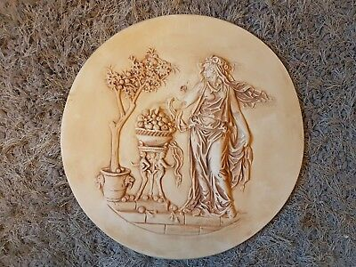 Large Oval Classical Roman Scene Intaglio Grand Tour Gem Plaster Wall Plaque New