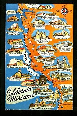 CALIFORNIA CA MISSIONS Map Postcard Old Vintage Card View Standard on