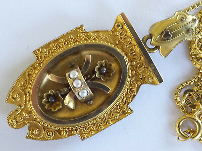 Victorian Etruscan Ornate Pinchbeck Gold Faux Seed Pearl Locket Pendant Necklace