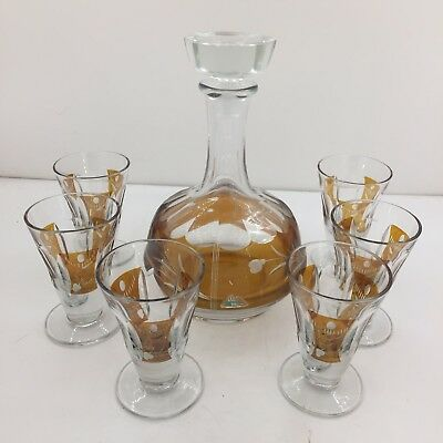 Bohemian Cut to Clear Glass..Amber..8 Piece Decanter Set..Sweden